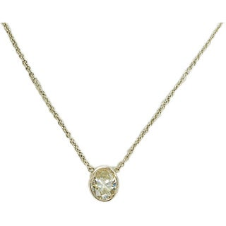 Kabella 14k White Gold 1ct TDW Oval Diamond Necklace (G-H, SI1-SI2)