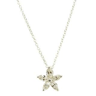 Kabella 18k White Gold 2/5ct TDW Marquise Diamond Flower Pendant (G-H, SI1-SI2)