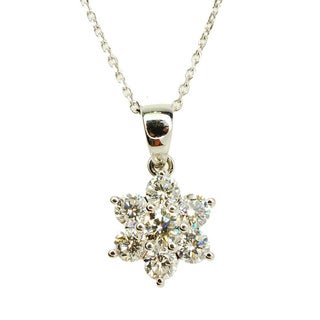 Kabella 18k White Gold 1 2/5ct TDW Diamond Floral Pendant (F-G, VS1-VS2)