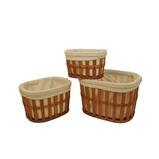 Oval Shaker Lined Storage Tote (Set of 3)