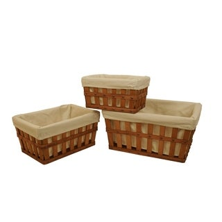 Square Shaker Lined Storage Tote (Set of 3)