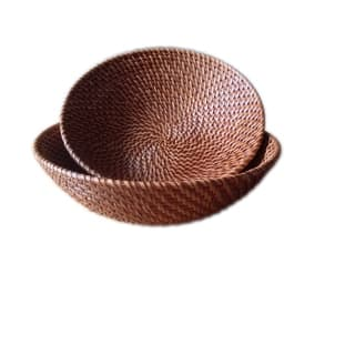Wald Imports Brown Rattan Decorative Round Nesting Bowls (Set of 2)|https://ak1.ostkcdn.com/images/products/11419265/P18382303.jpg?impolicy=medium