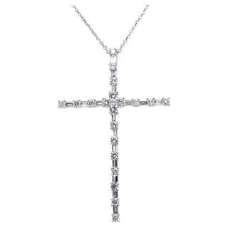 Kabella 18k White Gold 1 2/5ct TDW Diamond Cross Pendant (G-H, SI1-SI2)