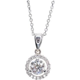 Kabella 18k White Gold 3/4ct TDW Round Diamond Halo Pendant (G-H, SI1-SI2)