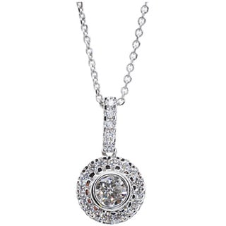 Kabella 18k White Gold 1/2ct TDW Round Diamond Halo Necklace (G-H, SI1-SI2)