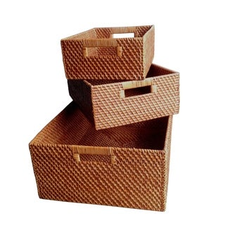 Wald Imports Brown Rattan Decorative Nesting Storage Baskets (Set of 3)