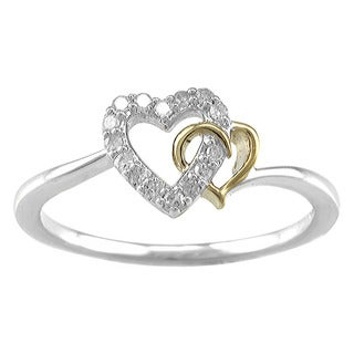 Sterling Silver 1/10ct TDW Diamond Interlocking Heart Promise Ring