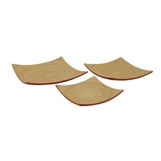 Wald Imports Natural and Red Bamboo Nesting Plates/ Serveware (Set of 3)