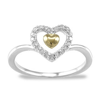 Two Tone Sterling Silver 0.15ct TDW White Diamond Heart Ring