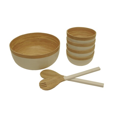 Wald Imports Natural and White Bamboo Salad Bowls with Serving Utensils (Set of 7)