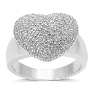 Sterling Silver 1/2ct TDW Diamond Pave Heart Ring