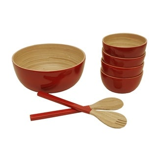 Wald Imports Natural and Red Bamboo Salad Bowls with Serving Utensils (Set of 7)