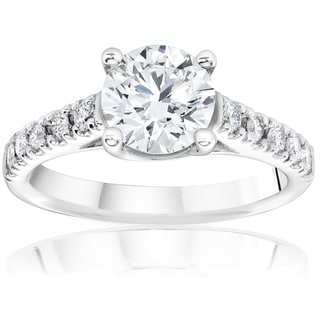14k White Gold 1 1/4ct TDW Diamond Clarity Enhanced Engagement Diamond Solitaire Accent Ring