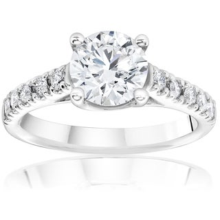 14k White Gold 1 1/4ct TDW Diamond Clarity Enhanced Engagement Diamond Solitaire Accent Ring (H-I,I1-I2)
