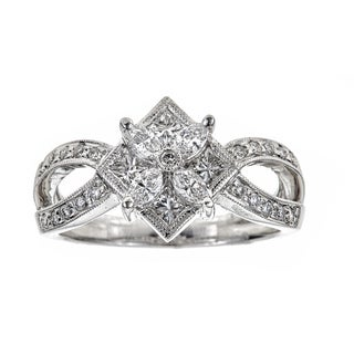 18k White Gold 4/5ct TDW Diamond Flower Ring