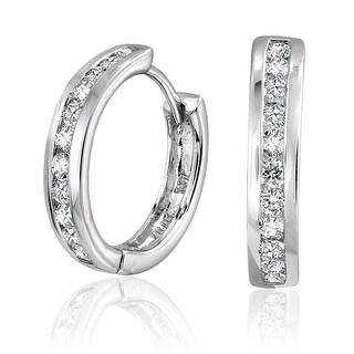 10k White Gold 1/3ct TDW Diamond Open Hoop Earrings (G-H, SI1-SI2)