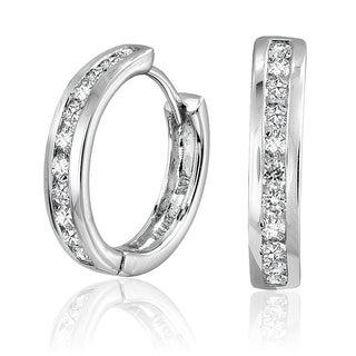 10k White Gold 1/4ct TDW Diamond Channel Hoop Earrings
