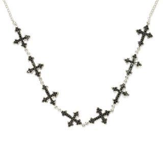 Sterling Silver Black Spinel Cross Necklace