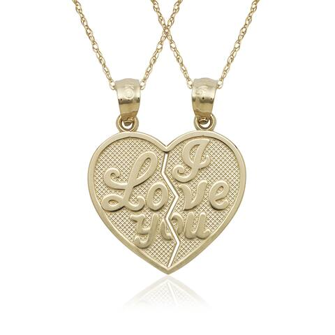 14k Yellow Gold 'I Love You' 2-piece Break Apart Heart Charm 16-inch Necklace