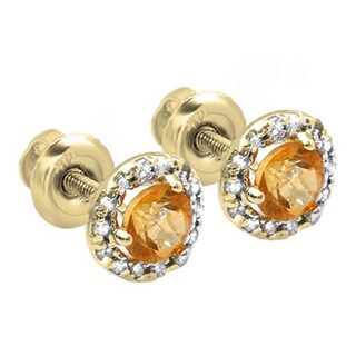 10k Yellow Gold 1/3ct TDW Round Deep Yellow Citrine and Diamond Halo Stud Earrings (I-J, I2-I3)
