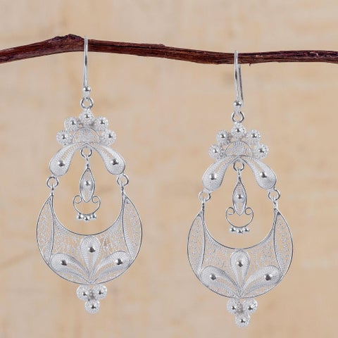Handmade Sterling Silver 'Crescent Moon Bloom' Earrings (Peru)