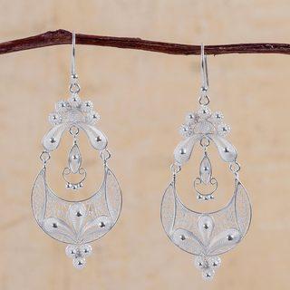 Handmade Sterling Silver 'Crescent Moon Bloom' Earrings (Peru)