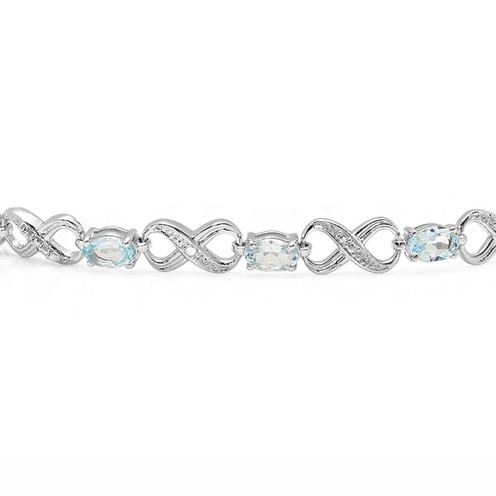 Round Cut Genuine White Diamond Fire Topaz Gemstone Silver Charme Bracelet