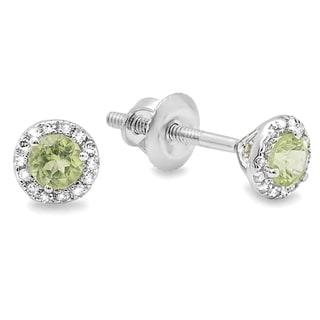 10k Gold 1/3ct TDW Green Peridot and White Diamond Halo Stud Earrings (I-J, I1-I2)