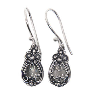 Sterling Silver 'Moon Flowers' Moonstone Earrings (Indonesia)