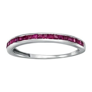 10k White Gold 1/2ct Natural Rubie Stackable Anniversary Band Ring - Red