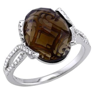 Beverly Hills Charm 14K White Gold 1/4ct TDW Diamond and Smokey Quartz Ring (H-I, SI2-I1)