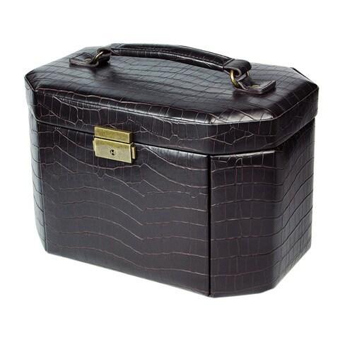 Ikee Design Luxury Leatherette Jewelry Lockable Storage C...