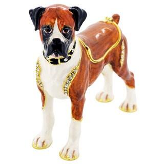 Rucinni Austrian Crystal Boxer Dog Trinket Box