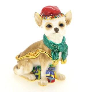 Rucinni Emerald Red Hat Christmas Chihuahua Trinket Box
