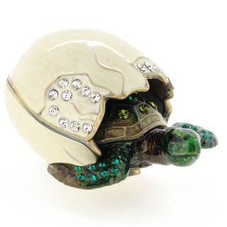 Rucinni Austrian Crystal Newborn Turtle and Shell Trinket Box