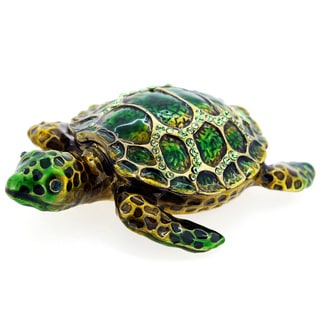 Rucinni Austrian Crystal Emerald Green Sea Turtle Jewelry Trinket Box