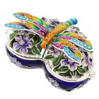Rucinni Austrian Crystal Dragonfly and Flower Heart Trinket Box
