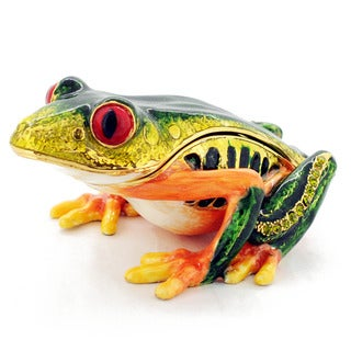 Rucinni Austrian Crystal Red Eyes Green Frog Trinket Box