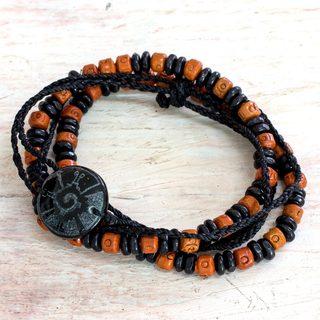 Handmade Set of 3 Men's Ceramic 'Hunab Ku' Jade Bracelets (Guatemala)
