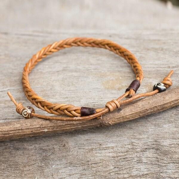 74b5a25c532af Handmade Men's Leather 'Friendship' Bracelet (Thailand)