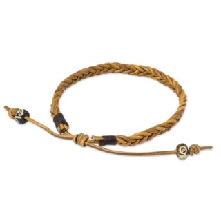 Handcrafted Men's Leather 'Friendship' Bracelet (Thailand)