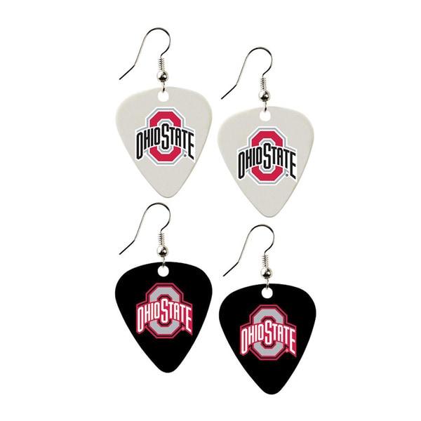 Ohio State Buckeyes NCAA Guitar Pick Dangle Earrings Charm Gift - Set of 2