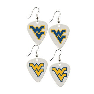 West Virginia Mountaineers NCAA Guitar Pick Dangle Earrings Charm Gift - Set of 2