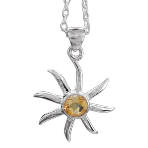 """Handmade Sterling Silver 'Golden Sun' Citrine Necklace (India) - 7'6"""" x 9'6"""""""