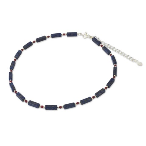 Handmade Sterling Silver 'Navy Rose' Lapis Lazuli Quartz Necklace (Thailand)