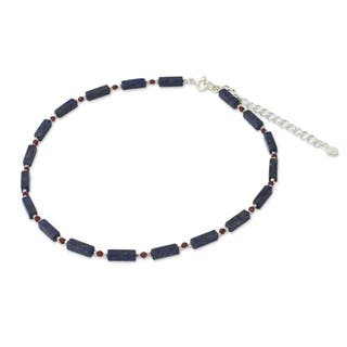 Handmade Sterling Silver 'Navy Rose' Lapis Lazuli Quartz Necklace (Thailand)|https://ak1.ostkcdn.com/images/products/11419453/P18382435.jpg?impolicy=medium