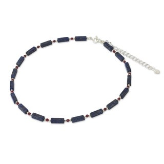 Handmade Sterling Silver 'Navy Rose' Lapis Lazuli Quartz Necklace (Thailand)