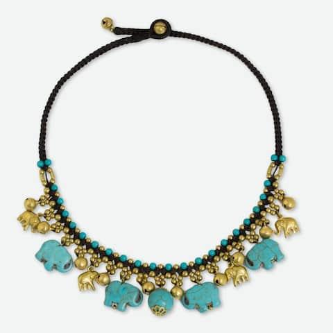 Handmade Brass 'Blue Elephant Charm' Calcite Necklace (Thailand)