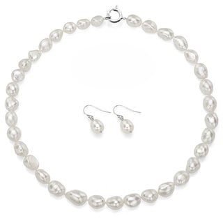 DaVonna Sterling Silver White Freshwater Pearl Necklace Off-shape and Hoop Earrings Jewelry Set (10-11mm)