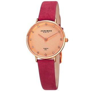 Akribos XXIV Women's Quartz Diamond Markers 'Crazy Horse' Leather Pink Strap Watch